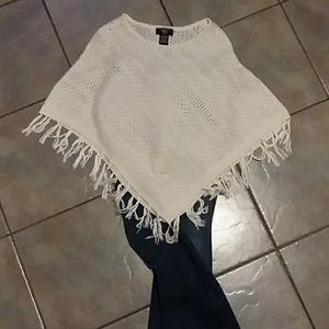 Cream White Silver threaded knit poncho
